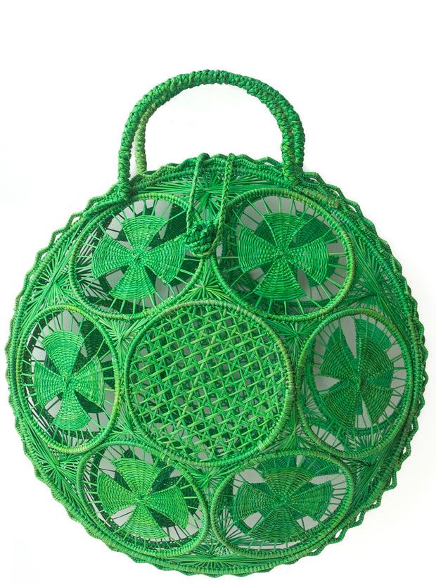 "Beautifully Designed Handmade Panera Basket Handbag in Emerald Green. Handmade with Love in South America, by Women and for Women. Chic and Stylish for Any Occasion. •Size 15.35"" x 15.5""  • Handle 4.72"" x 5"""