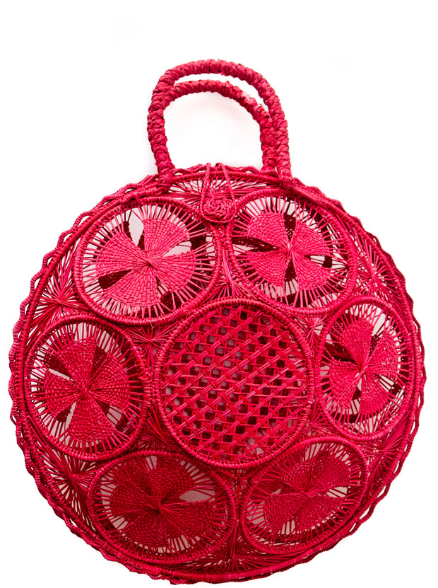 Beautifully Designed Hand-Made Panera Basket Handbag in Garnet Red. Hand-Made with Love in South America, by Women and for Women. Chic and Stylish for Any Event.