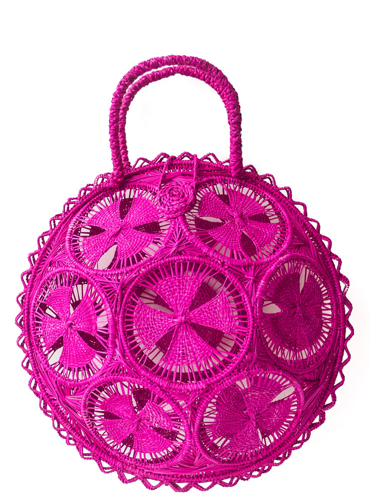 Beautifully Designed Handmade Panera Basket Handbag in Hot Pink. Handmade with Love in South America, by Women and for Women. Chic and Stylish for Any Occasion.