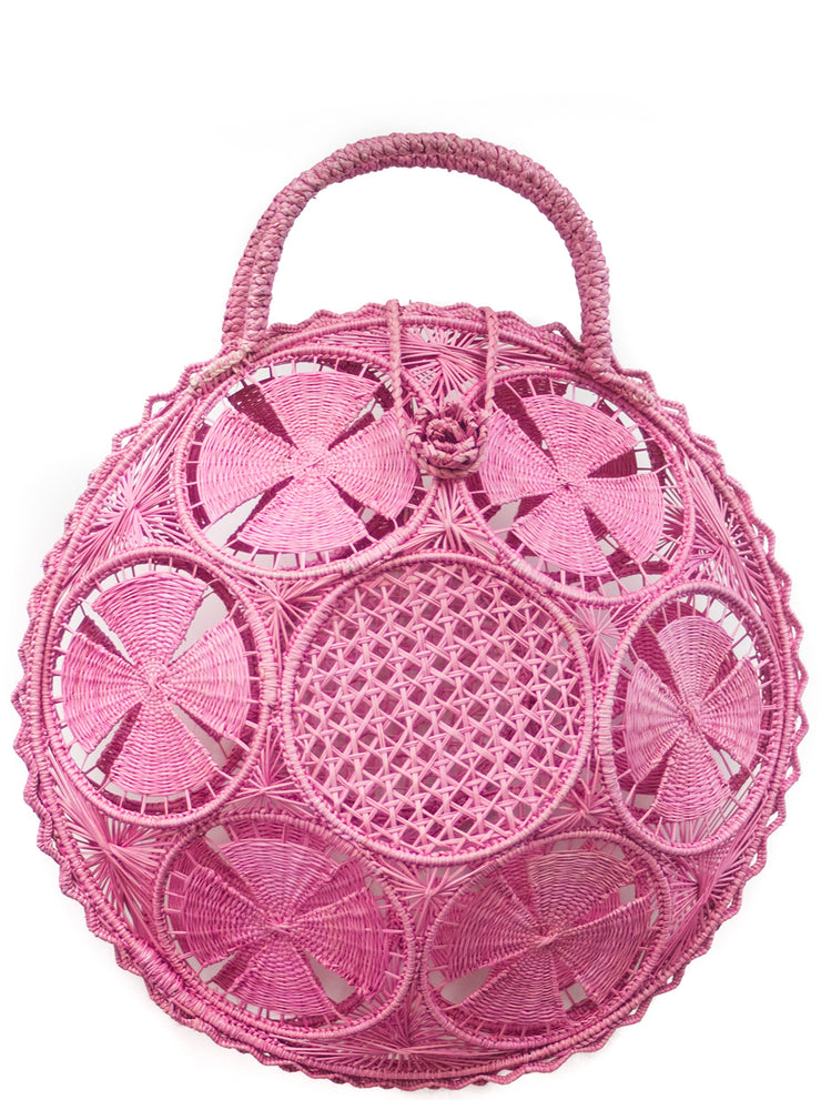 "Beautifully Designed Handmade Panera Basket Handbag in Light Pink. Handmade with Love in South America, by Women and for Women. Chic and Stylish for Any Occasion. •Size 15.35"" x 15.5""  • Handle 4.72"" x 5"""