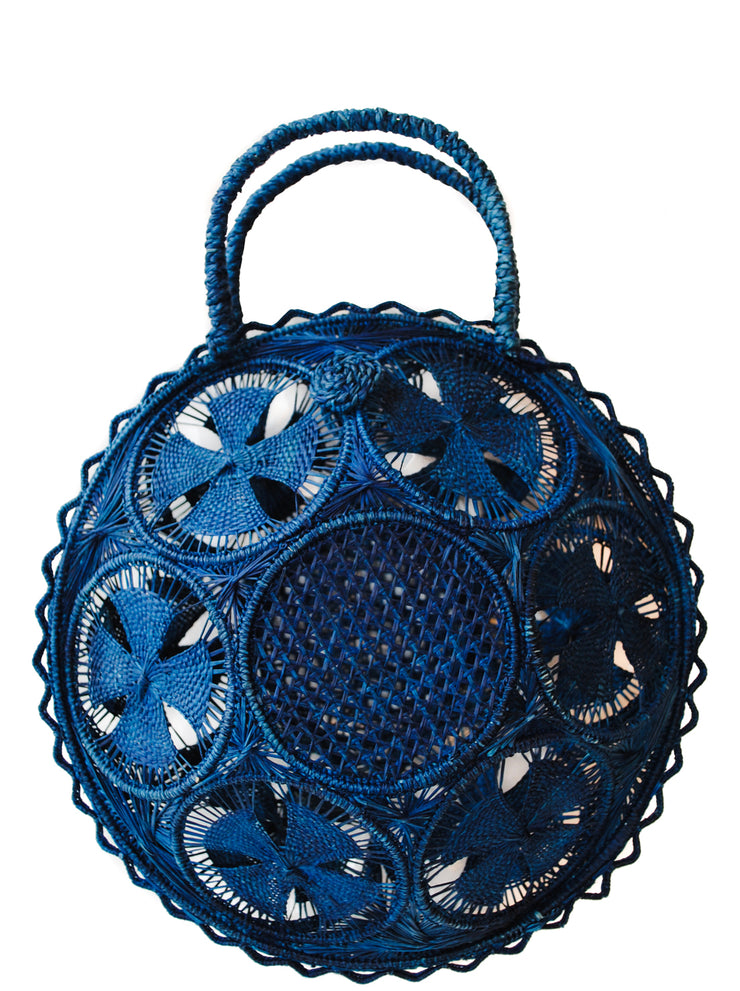 Beautifully Designed Hand-Made Panera Basket Handbag in Deep Navy Blue. Hand-Made with Love in South America, by Women and for Women. Chic and Stylish for Any Event.