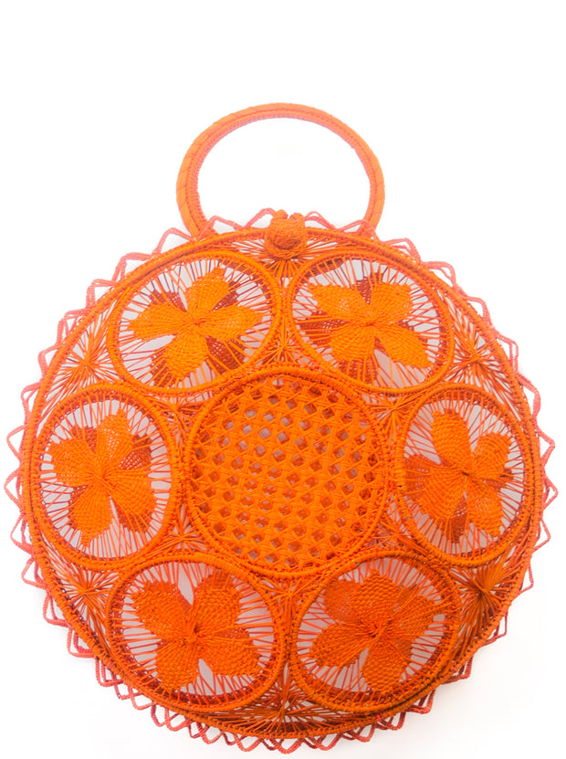 "Beautifully Designed Handmade Panera Basket Handbag in  Bright Orange Crush. Handmade with Love in South America, by Women and for Women. Chic and Stylish for Any Occasion. •Size 15.35"" x 15.5""  • Handle 4.72"" x 5"""