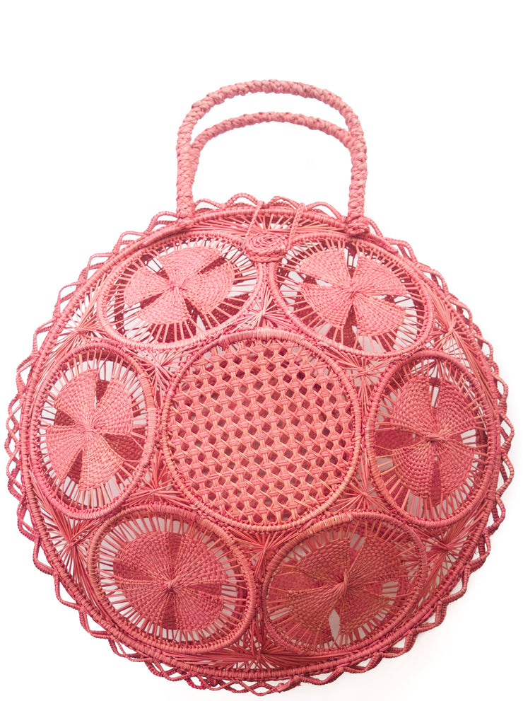 Beautifully Designed Handmade Panera Basket Handbag in Rosé Pink. Handmade with Love in South America, by Women and for Women. Chic and Stylish for Any Occasion.