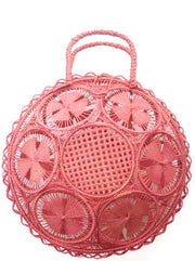 "Beautifully Designed Handmade Panera Basket Handbag in Rosé Pink. Handmade with Love in South America, by Women and for Women. Chic and Stylish for Any Occasion. •Size 15.35"" x 15.5""  • Handle 4.72"" x 5""."