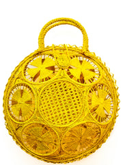 "Beautifully Designed Handmade Panera Basket Handbag in Primrose Yellow. Handmade with Love in South America, by Women and for Women. Chic and Stylish for Any Occasion. •Size 15.35"" x 15.5""  • Handle 4.72"" x 5"""