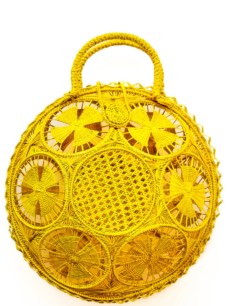 Beautifully Designed Hand-Made Panera Basket Handbag in Primrose Yellow. Hand-Made with Love in South America, by Women and for Women. Chic and Stylish for Any Event.