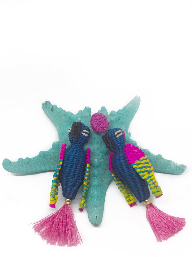 Blue and Rosé Handmade Paradise Parrot Earrings with silk tassel