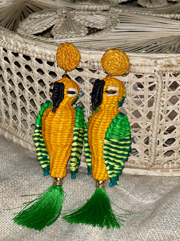 Tweety Parrot Handmade iraca earrings with tassel, Orange and Green