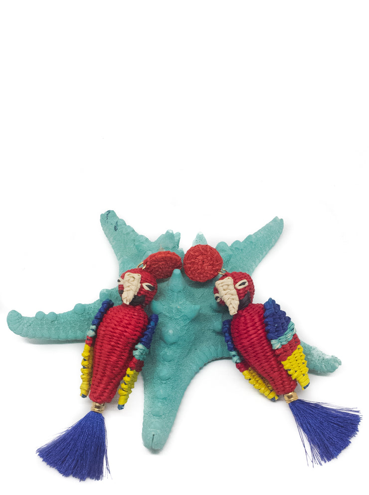 Red and Blue Handmade Paradise Parrot Earrings with silk tassel