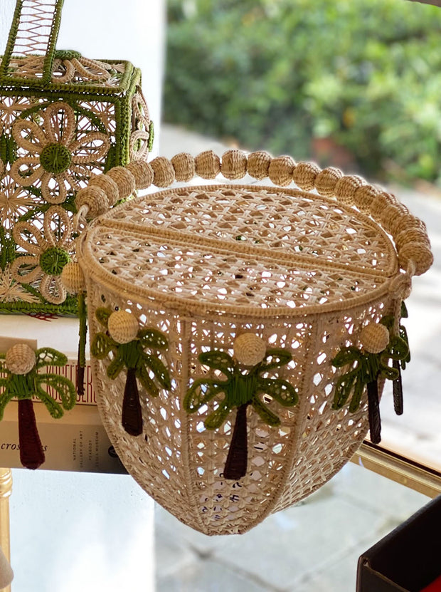 Palm Beach Top Handle Basket with Palm Tree Charms