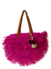 Hot Pink Raffia Shoulder Bag with Fringe and Snap Enclosure Mechanism and Pompoms, fully lined.