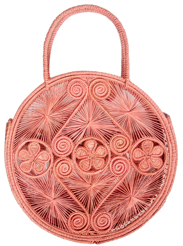Coral Palm Round Boho Chic Bag