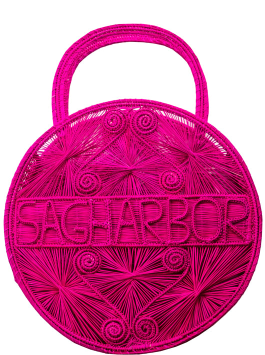 "Hot Pink  100 % Handwoven, Iraca Palm Bag with ""Sagharbor"" Woven Across Front"