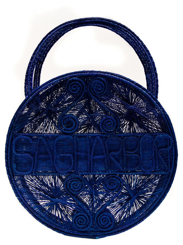"Navy Blue 100 % Handwoven, Iraca Palm Bag with ""Sagharbor"" Woven Across Front"