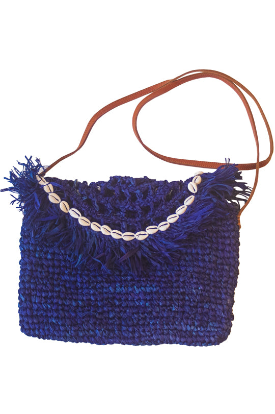 Midnight Blue Handwoven Palm Clutch with Natural Shells