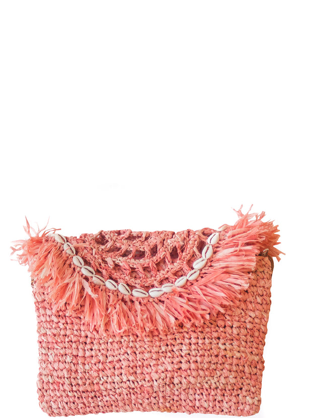 Rosé Handwoven Palm Clutch with Natural Shells