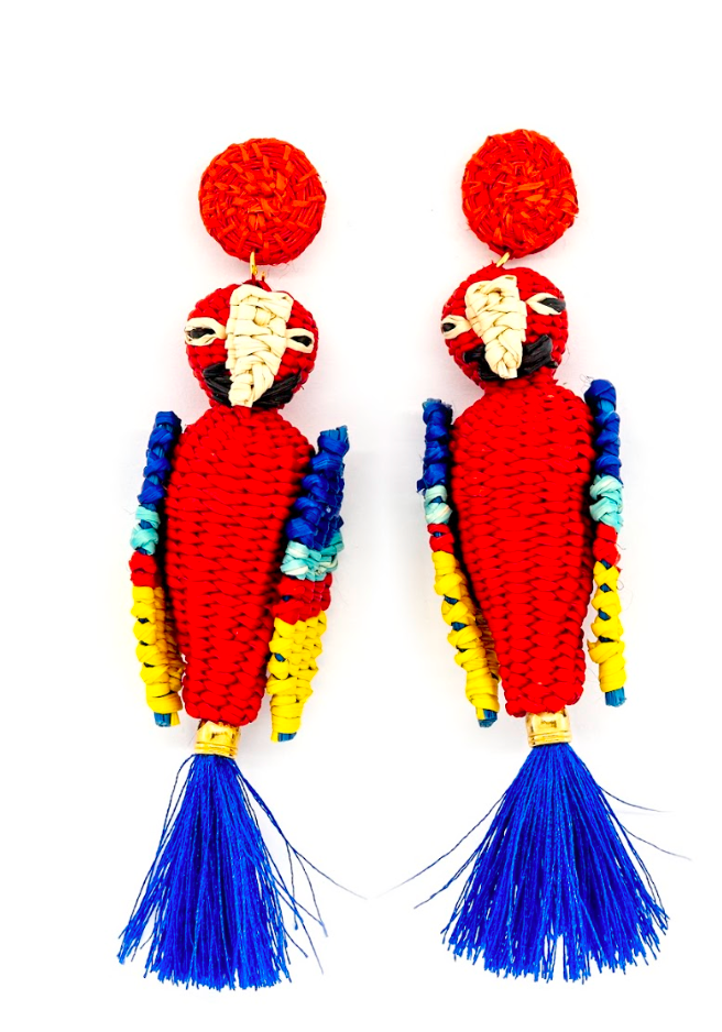Paradise Parrot Earrings | Blue/Rosé