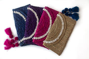 Assorted Handwoven Straw Clutches with Natural Shells