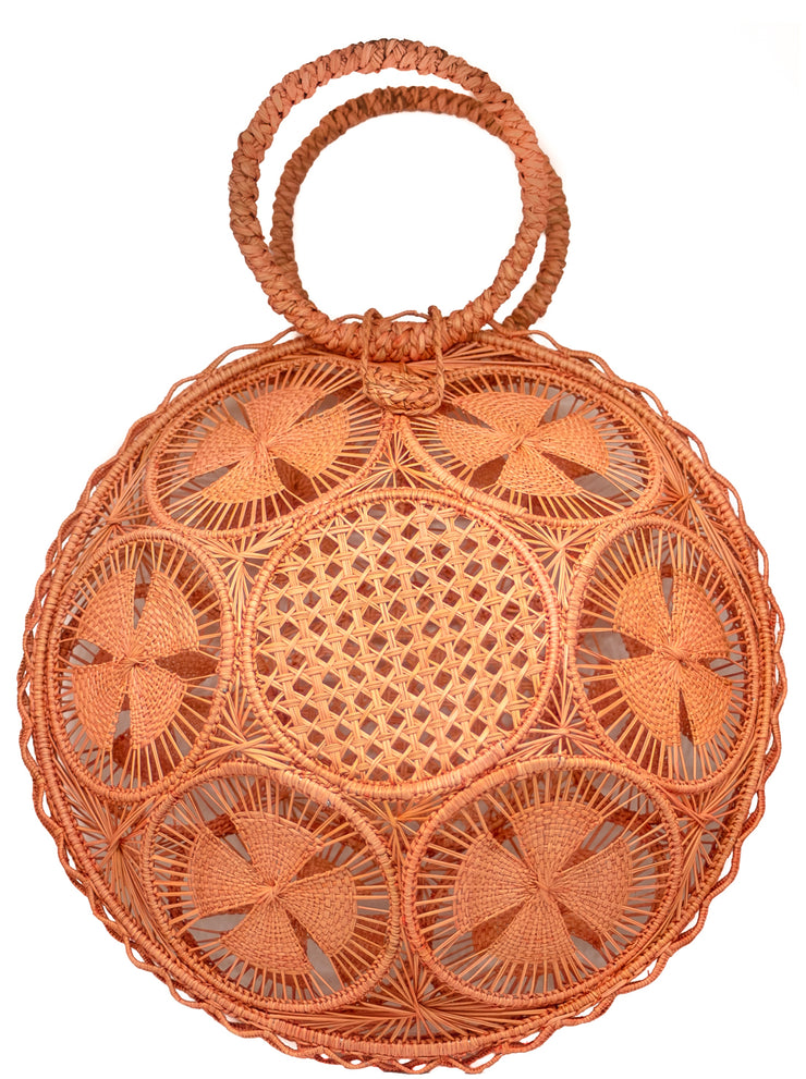 Beautifully Designed Hand-Made Panera Basket Handbag in Coral. Hand-Made with Love in South America, by Women and for Women. Chic and Stylish for Any Event.