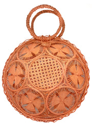 Beautifully Designed Handmade Panera Basket Handbag in Coral Orange. Handmade with Love in South America, by Women and for Women. Chic and Stylish for Any Occasion.
