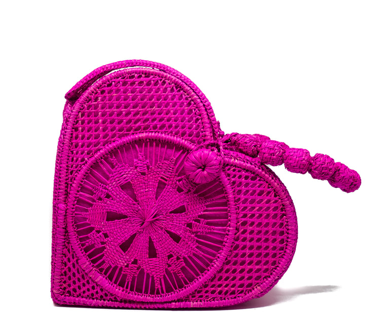 Hot Pink Love Heart Handwoven, Handmade Palm Handbag