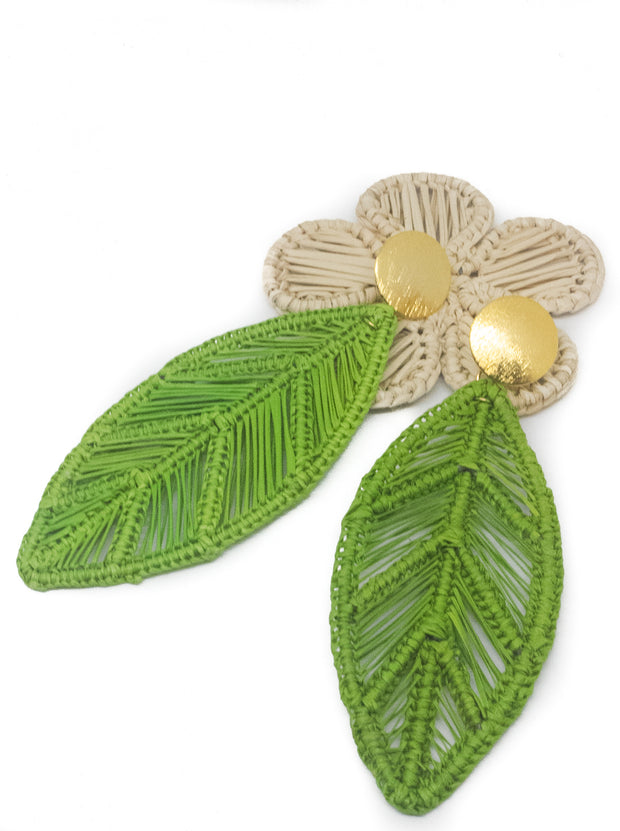 Handmade Green Leaf Earrings