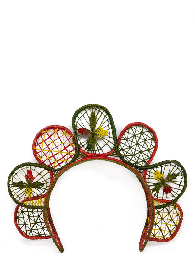 Handmade Palm Sunflower Headband in Holiday Colors
