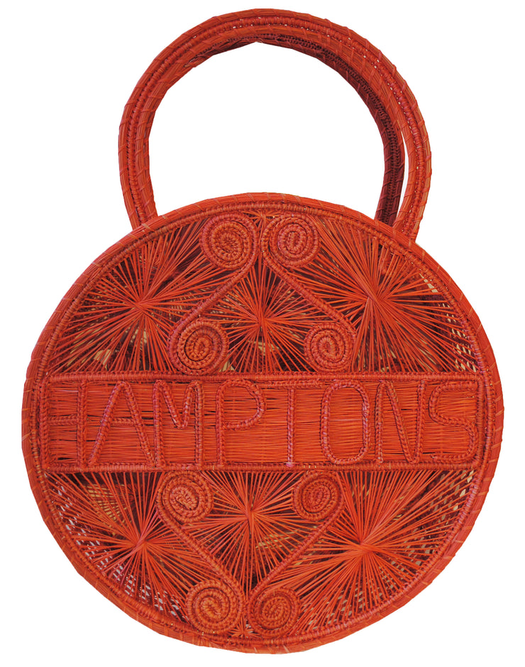 "Orange Crush 100 % Handwoven , Iraca Palm Bag with ""Hamptons"" Woven Across Front"