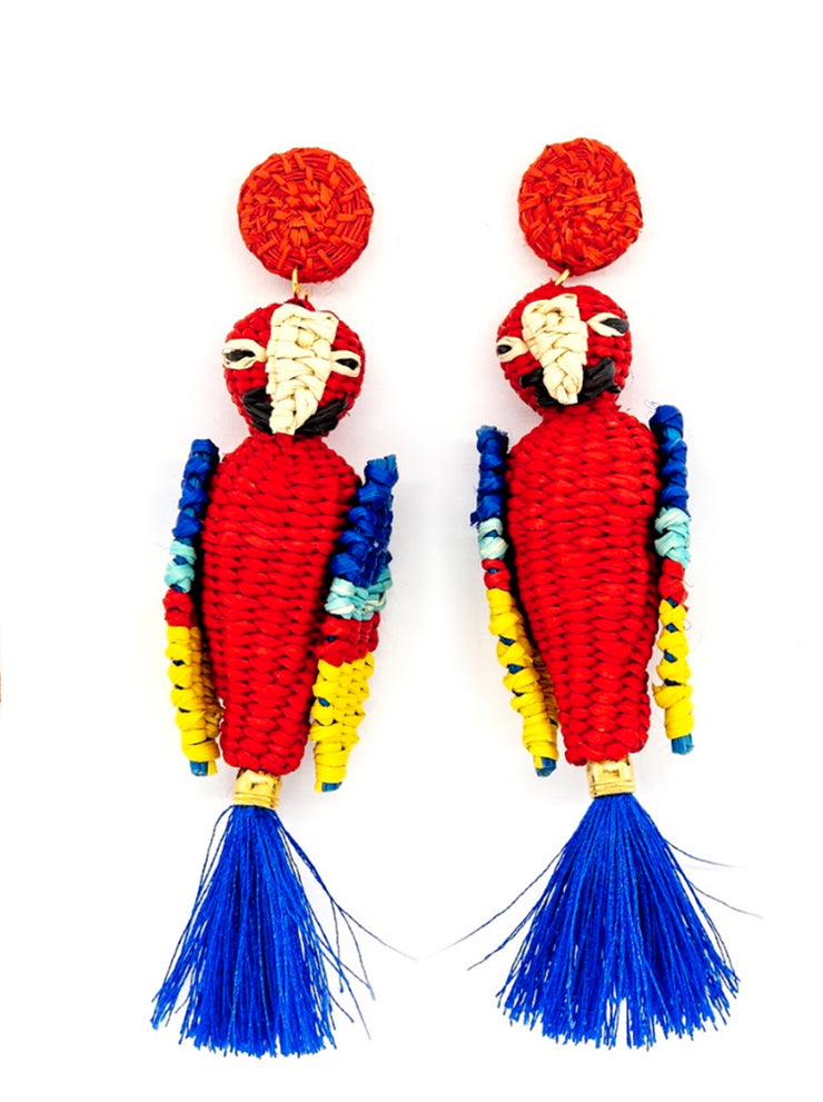Paradise Parrot Earrings | Blue/Red