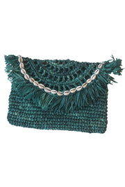eal Handwoven Palm Clutch with Natural Shells