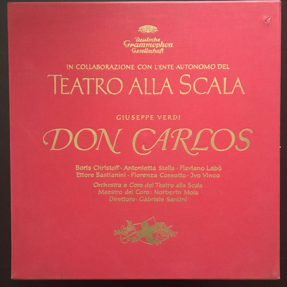 Giuseppe Verdi: Don Carlos 4 x LP mono box set with 56 page libretto.