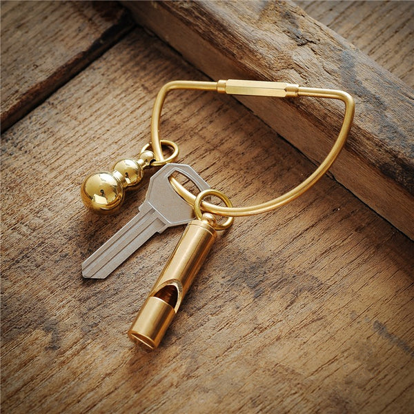 Solid Brass Keychain Whistle - Metal Field