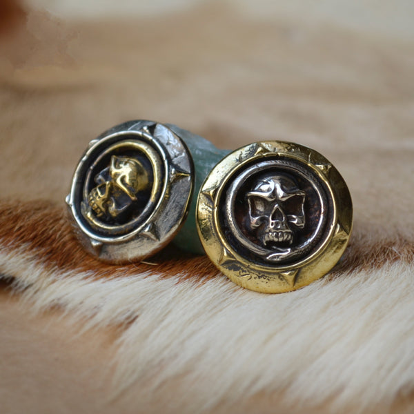 War Skull Brass Conchos Handmade Leather Bag&PurseConchos Screwback Studs - Metal Field