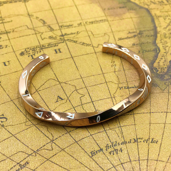 "Rose Gold Viking Bracelet Twisted Design ""Always In My Heart"", Cool bracelets - Metal Field Shop"