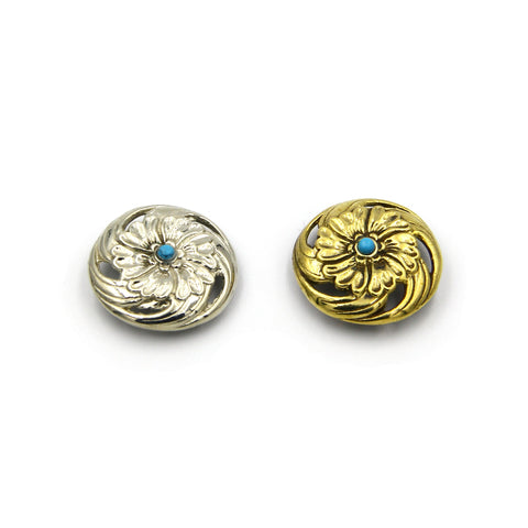 Stone Inlaid Flower Conchos Leather Craft Decoration Concho Rivets Scrw Back - Metal Field