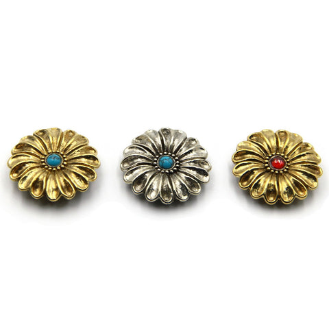 Turquoise Flower Daisy Concho, Gorgeous Conchos For Leather - Metal Field