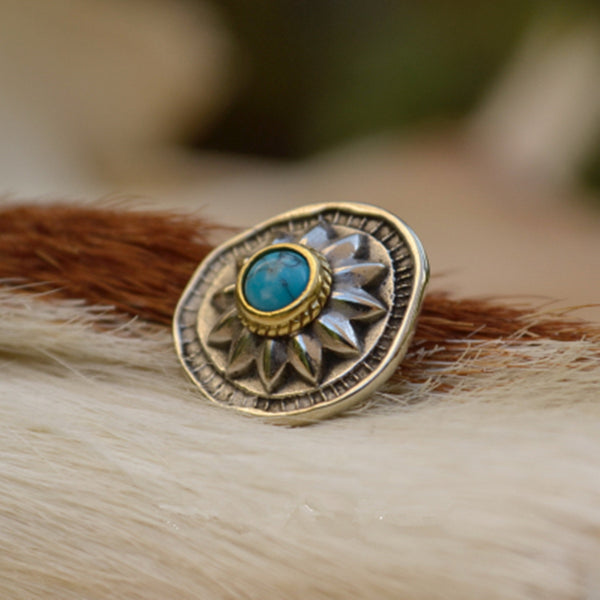 Baroque Style Turquoise Concho Rivets For Leather Goods - Metal Field