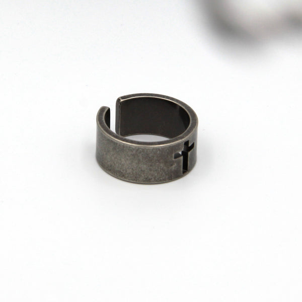 Men Fashion Rustic Ring Cross Band Ring - Metal Field