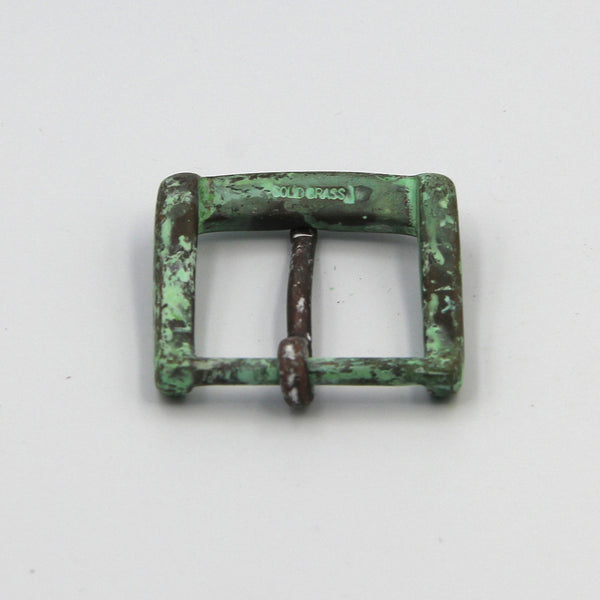Green Rusty Buckle for Handmade Leather Belts, 35mm Vintage Bronze - Metal Field