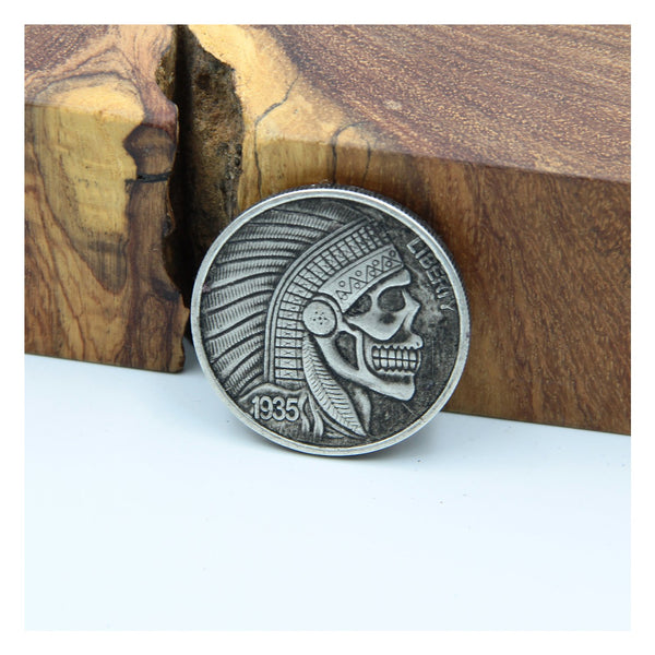 Liberty Indian Skull Penny Coin Old Silver Color - Metal Field