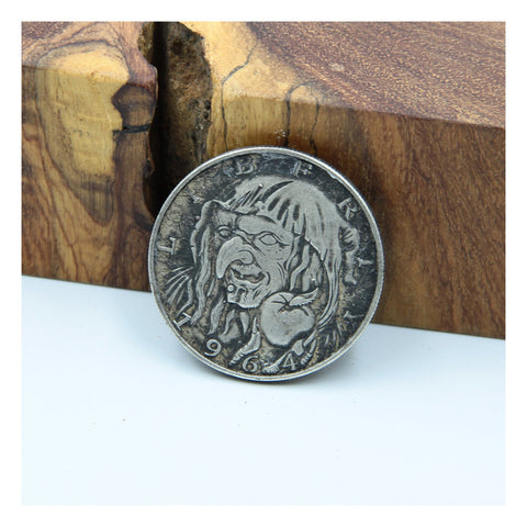 Witch Vintage Coin Leather Stamp - Metal Field