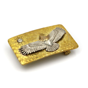 Handmade Hammered Eagles Buckle Solid Brass - Metal Field