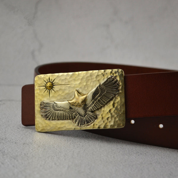 Handmade Hammered Eagles Buckle Solid Brass - Metal Field Shop