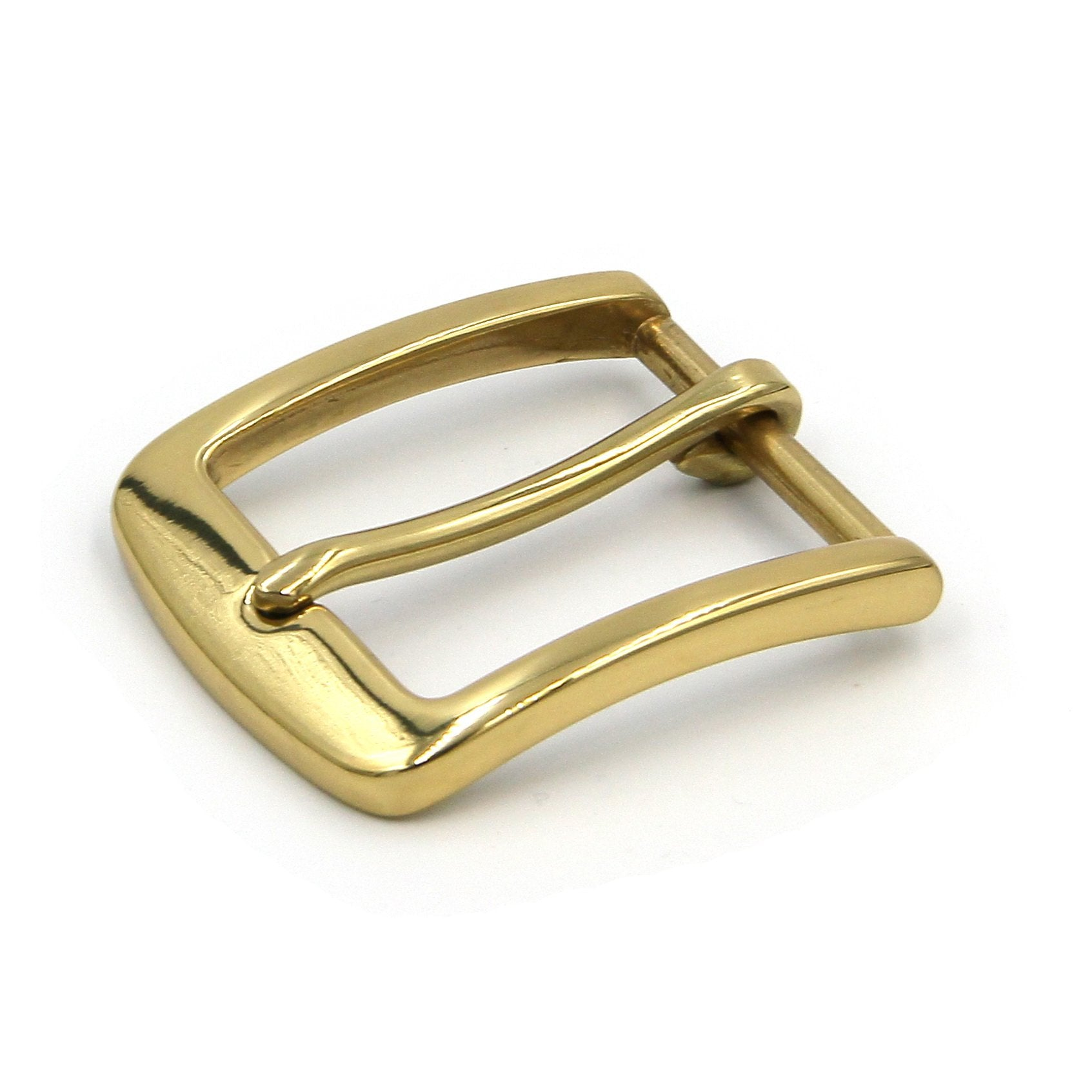 Brass Buckle Glass Finish Gold Color Leather Belt Buckle - Metal Field