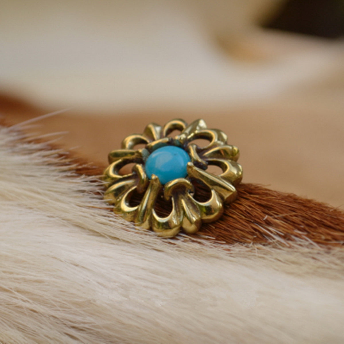 Turquoise Decor Screw Conchos For Leather Crafts Wallets Bag - Metal Field