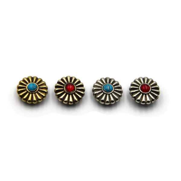 Turquoise Decorative Flower Conchos Rivets Screw Back - Metal Field