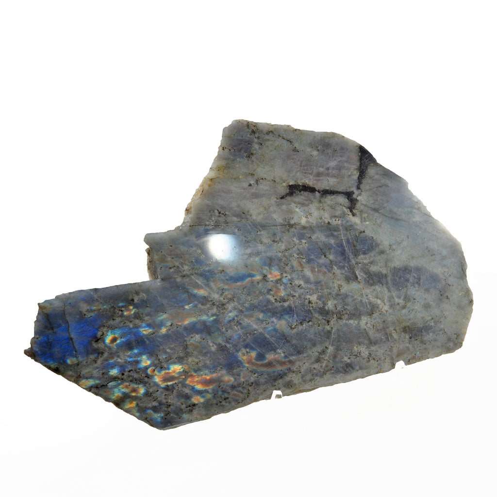 Labradorite 11.8 inch 2.34 lbs Natural Crystal Partial Polished Slice - Madagascar