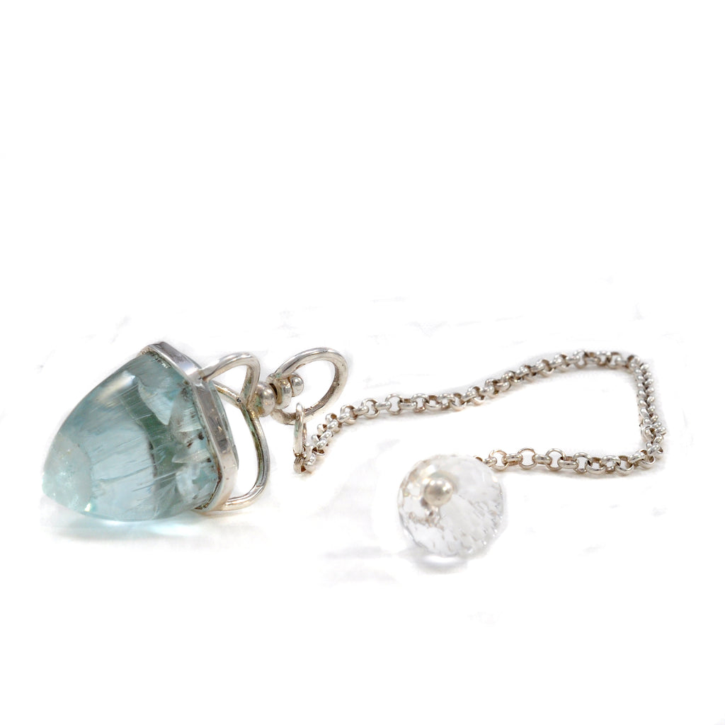 Aquamarine 23ct Gemstone with Quartz Sterling Silver Handcrafted Pendulum