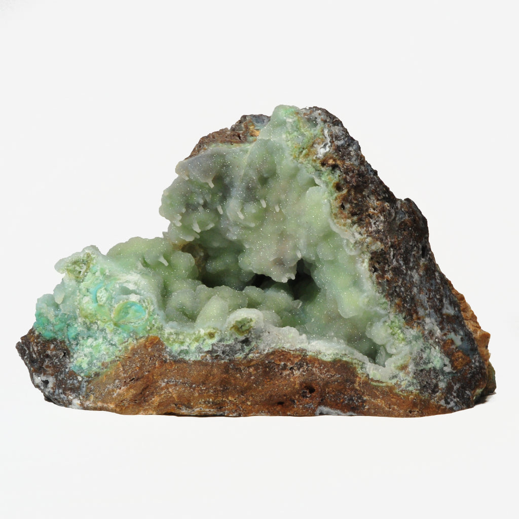 Druzy Quartz over Malachite 10.0 inch 9.5 lbs Natural Crystal Specimen - Peru