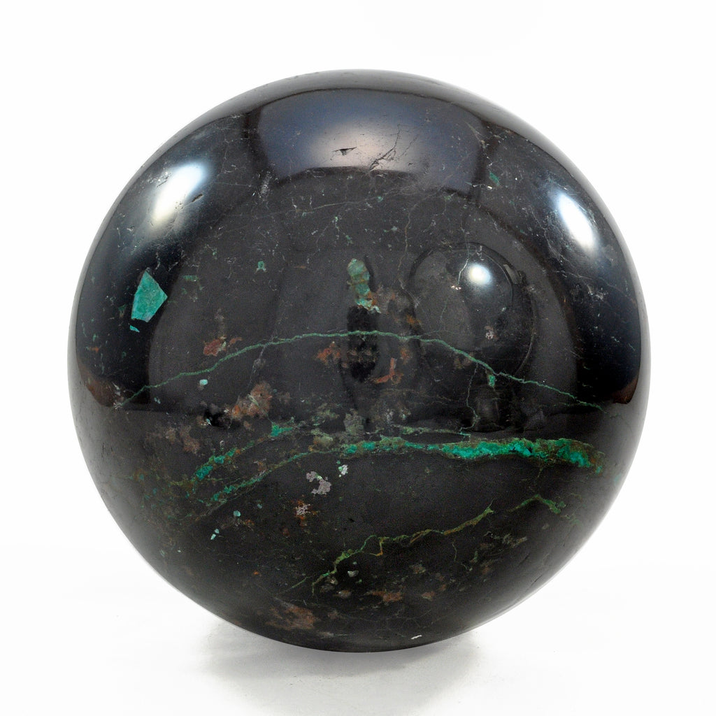 Black Tourmaline with Chrysocolla 4.78 inch 5.79 lbs Natural Crystal Polished Sphere - Peru